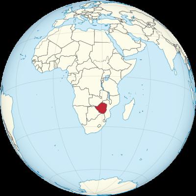Weltkugel Zimbabwe